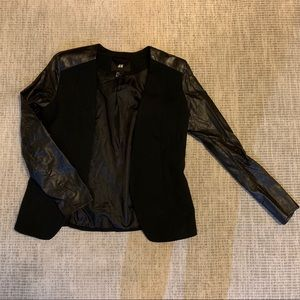 Black blazer with faux leather sleeves